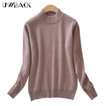 Uwback 2017 New Brand Sweater Women Wool Plus Size Pink Slim Basic Pullovers Femme 2XL Cashmere Knitted Sweater Women TB1159