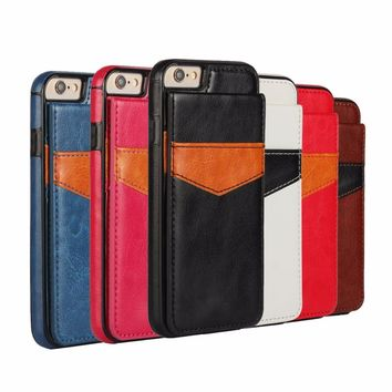 Leather Case for iPhone 7 8 Plus X 6 6s Plus Phone Cases Card Slot
