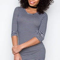 Daria Striped Dress - Navy