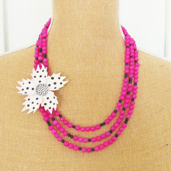 Polka Dot Statement Necklace Vintage Black and White Enamel Polka Dot Flower Asymmetrical Fuchsia Dyed Jade Beaded Statement Necklace OOAK