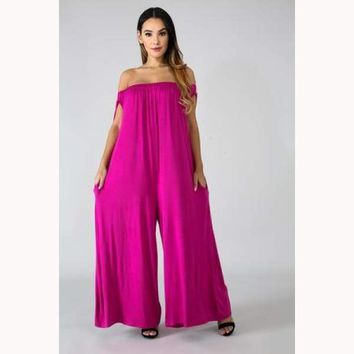 On The Go Jumpsuit-Magenta