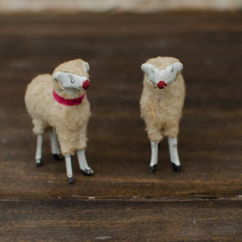 Vintage Stick Leg Sheep Antique Wool Sheep German Putz Nativity Plaster Face Lambs