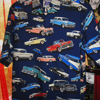 Amazing Reyn SPOONER Vintage Hawaiian Shirt Old Cars Size M 100% Cotton  Made in USA