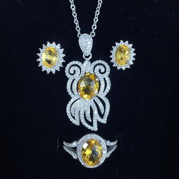 Natural Citrine Jewelry Set In .925 Sterling Silver