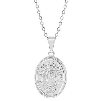 """925 Sterling Silver Our Lady of Guadalupe Virgin Mary Medal Necklace Kids 16"""""""