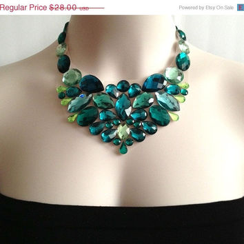 ON SALE green bib necklace - emerald green, mint green colors rhinestone bib necklace, prom, bridesmaids, wedding necklace or gift NEW Seas