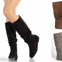Mid Calf Knee High Round Toe Slouch Comfort Casual Flat Women's Boot Black