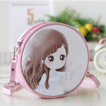 School Backpack PU leather cartoon princess printing children school bags kids messenger small money phone pouches for kindergarten baby girls AT_48_3