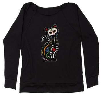Skeleton Cat Day Of The Dead Slouchy Off Shoulder Oversized Sweatshirt