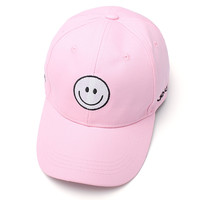 Summer White Baseball Caps Smile Smiley Face Sun Hats Hip Hop Gorras Strapback Hats Snapback Hat New Brand Casquette Cap Outdoor Peaked Pink