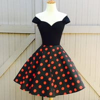 The Bettie Cap Sleeved Mini Dress, Sexy ROCKABILLY Off The Shoulder 1950s Style Pin Up Dress, Pinup Black Cherry Red Polkadot