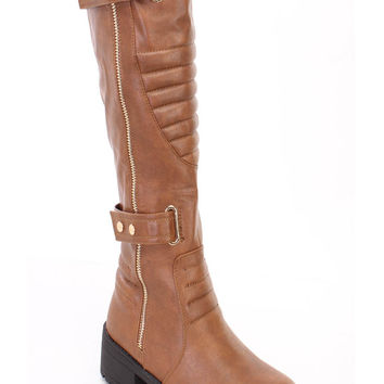 Tan Stitched Strappy Riding Boots Faux Leather