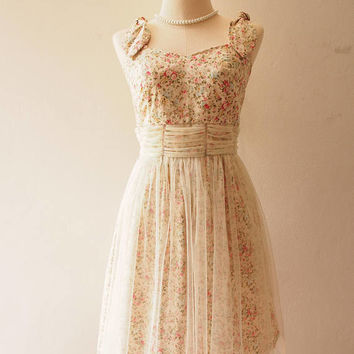 FAIRY ROMANCE - Cream White Tutu Dress Floral Tutu Vintage Inspired Rustic Wedding Dress Vintage Floral Dress Floral Sundress Summer Dress