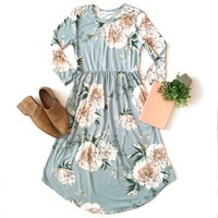 Light Blue Floral Midi Dress
