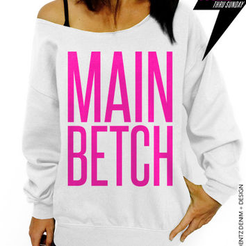 Main Betch - Squad Bridal Collection - White with Pink Slouchy Oversized Sweatshirt