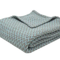Gray and Spa Blue Chevron Cotton Yarn Throw