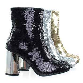 Abigale43 Black by Forever Link, Block Heel Sequins Ankle Bootie, Women's Metallic Party Shoes