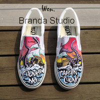 Christmas-Chunk  No,Captain Chunk  French Pop Punk Band Studio Hand Painted Shoes Sneakers For Men/Women,slip on shoes custom shoes Sailboat