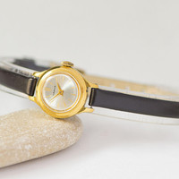 Micro watch for women gold plated Seagull, vintage women's watch small gift, classic lady watch round jewelry, new premium leather strap