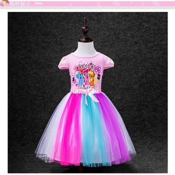 VONE05O CaGiPlay kids Dress My Little Pony Summer minnie Girl Rainbow Dresses Anna Elsa girls princess Costume for Children