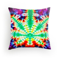 Tie Dye Cannabis Pillow ,