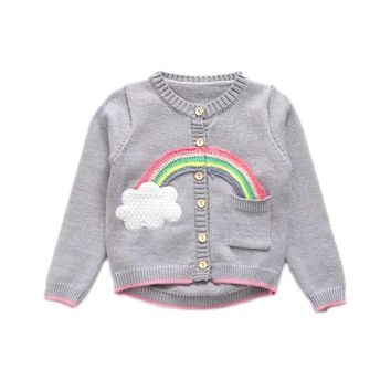 Long Sleeve Single Breasted Rainbow  Applique Cardigan