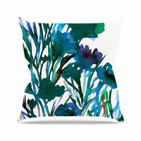 "Ebi Emporium ""Petal For Your Thoughts Teal"" Turquoise Green Outdoor Throw Pillow"