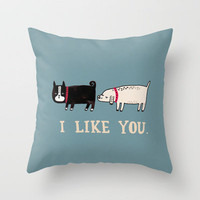 I Like You. Throw Pillow by Gemma Correll | Society6