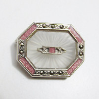Vintage Brooch: Camphor Glass with Pink Enamel and Marcasite