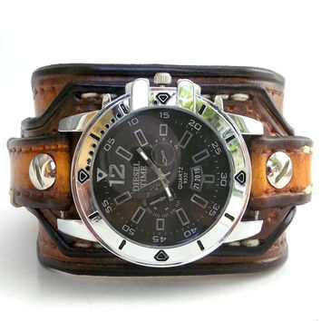 Tobacco brown watch cuff,  Men's leather wrist watch, Watch Bracelet, Handmade, Gift