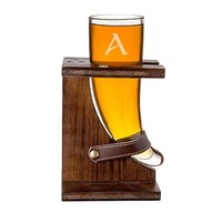 Personalized Glass Viking Beer Horn with Rustic Stand