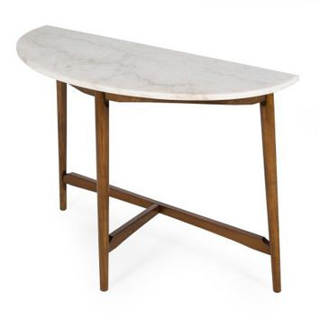 Belham Living James Half-Round Mid Century Modern Marble Sofa Table - Console Tables at Hayneedle
