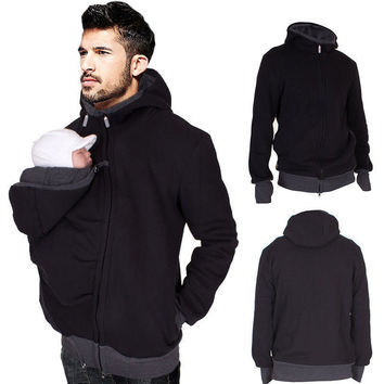Men's Cool Winter Kangaroo Sweatshirt Jacket Super Dad Baby Carrier Coat Hoodies