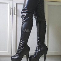 Black Sexy Boots Thigh High Boots Women Platform Almond Toe Stiletto Heel Over The Knee Boots