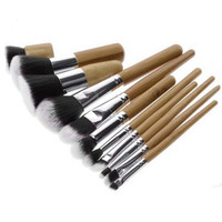 1 Wood Handle Makeup Cosmetic Eyeshadow Foundation Concealer Brush Set