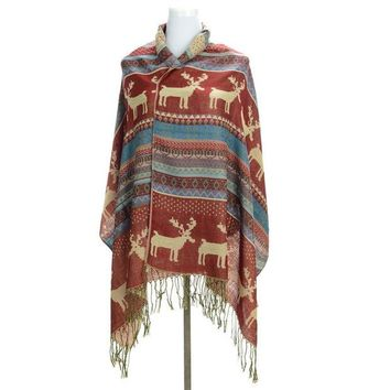ONETOW Winter Jacquard Knit Scarf Trendy Christmas Snowflake Deer Women's Long Print Scarf Wrap Ladies Shawl Girl Large Pretty Scar