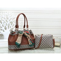 Gucci Popular Women Leather Bowknot Handbag Shoulder Bag Crossbody Satchel Set Two Piece Brown
