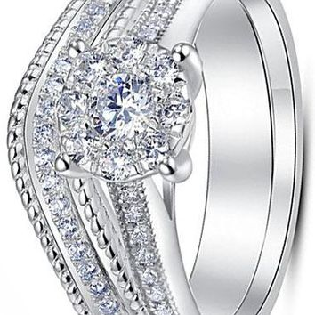 CERTIFIED 0.30 Carats Sterling Silver Vintage Style 2 Pieces Solitaire CZ Bridal Engagement Wedding Halo Ring Set
