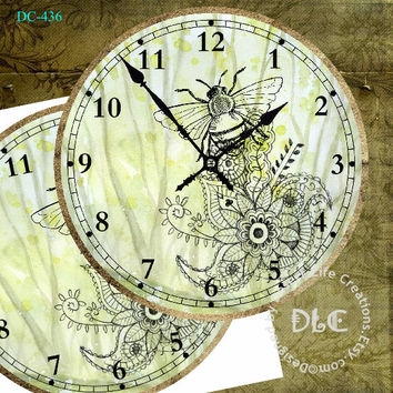 """Lacy Motif and Bumble Bee Art DIY - Digital Sheet dc436 - Large Clock Face 12"""" Printable Image - Wall Decor - Crafts - Jpg Instant Download"""