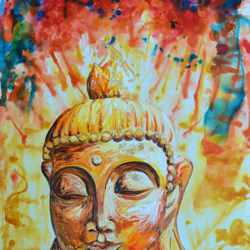 Eternal Glow Buddha Original Oil paint, Alcohol Ink Painting