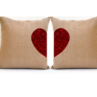 Two hearts Beat As One -Two heart Pillow covers in burlap with Sequins pillows  -16X16 -cushion cover -Valentine gift- Sequin Heart Pillow