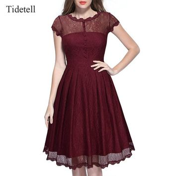 Elegant Scoop Neck Cap Sleeves Knee-Length Lace Cocktail Dress Patchwork See-Through Party Dress Button Slim Popular Women Dress