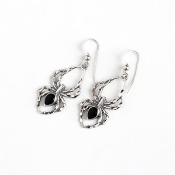 Vintage Sterling Silver Spider Earrings - Retro 1970s Pierced Dangle Drop Black Enamel Figural Arachnid Critter Halloween Statement Jewelry