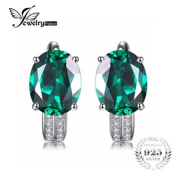 JewelryPalace 3.5ct Created Emerald Earrings 100% Genuine Real Pure 925 Sterling Silver Vintage Charm Fine Jewelry Party Gift