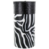 "3"" x 6"" Black & White Zebra Candle with Glitter 