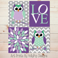 Baby Girl Nursery Decor Nursery Wall Art Cute Whimisical Woodland Owl Nursery Childrens Art Prints Purple Mint Green Modern Girls Room #0666