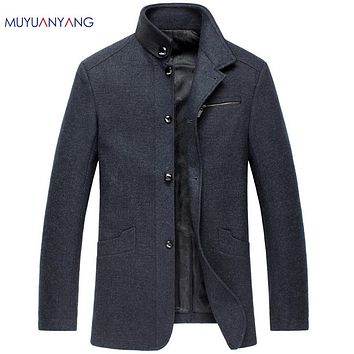 Male Wool Winter Coats Men's Wool Jackets and Coats Stand Collar Men Single Breasted Coat Casual