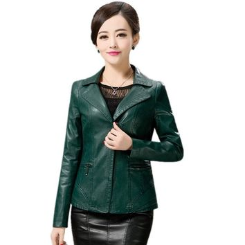 High Quality Autumn Winter Leather Jacket Women PU Slim Faux Leather Coat Plus Size L-5XL 2017 New Women PU Outerwear