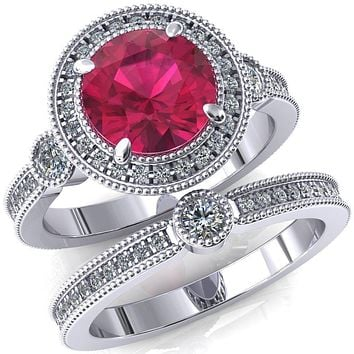 Brachium Round Lab-Created Ruby Milgrain Halo 3/4 Eternity Accent Diamond Ring