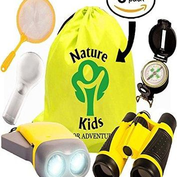 Educational Children's Backpack With Binoculars, Flashlight, Compass, Magnifying Glass, Butterfly Net